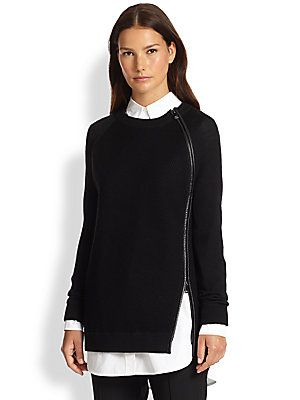 Vince Leather-Trimmed Zip Sweater