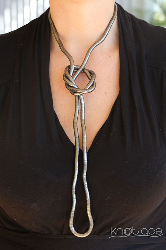 'Long' Knotlace or bendy necklace or accessory – Gunmetal or Dark Silver. - http://www.knotlace.com.au/ #style #fashion #accessory #jewellery #silveraccessory