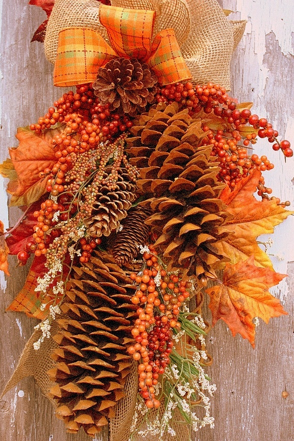 Make use of pine cones by hanging them on your door.