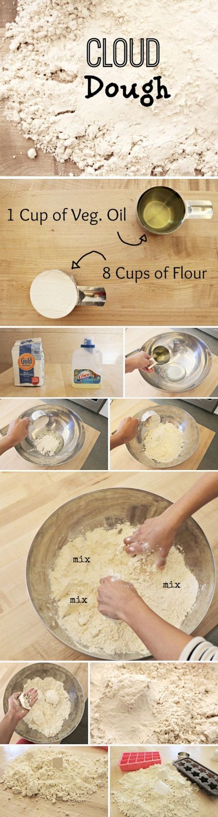 Keep your kids entertained with awesome, easy-to-make DIY cloud dough! :)