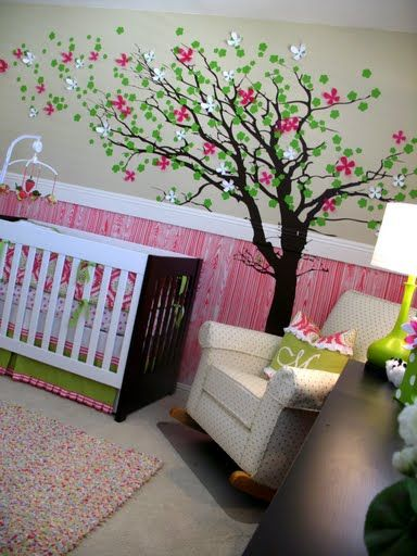 Faux Wood Grain Wainscoting With a painted tree that has 3D flowers coming off the Wall