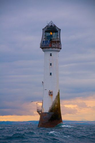 The Bell Rock Lighthouse at dusk