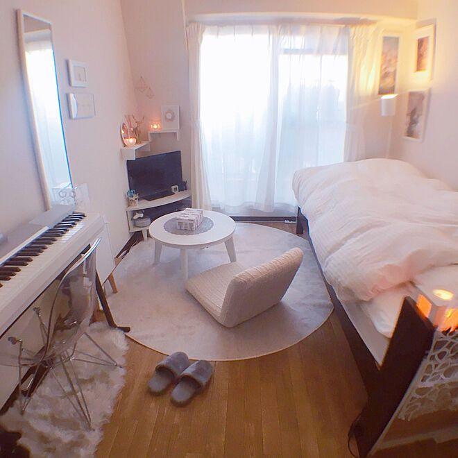 部屋全体 一人暮らし 狭い部屋 ホワイトインテリア 魚眼レンズ などのインテリア実例 2018 03 30 18 15 12 Roomclip ルームクリップ 寝室 レイアウト 6畳 1k レイアウト 6 畳 リビング インテリア 一人暮らし