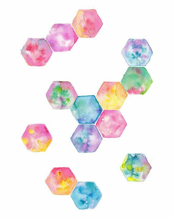 Hexagon geometric watercolour art print pink purple blue green rainbow