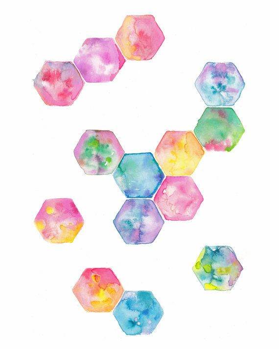 Hexagon geometric watercolour art print pink purple blue green rainbow - could be used as different patches sewn together - could I incorporate painting and watercolours into the dress?