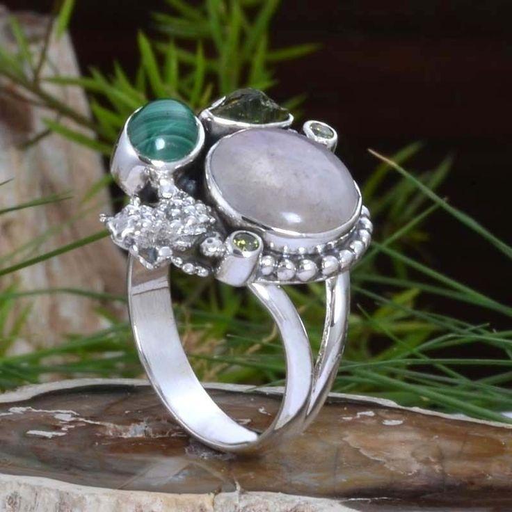 925 STERLING SILVER Moonstone & Malachite AMAZING RING 6.37g DJR10896 SZ-8 #Handmade #Ring