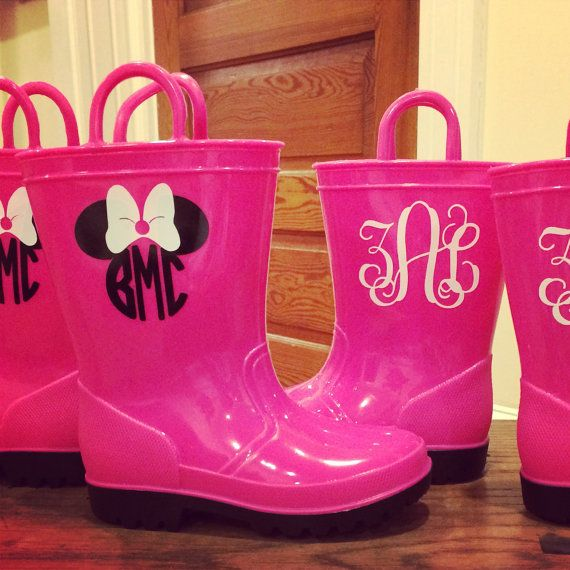 Monogrammed Toddler Rain boots Monogrammed by JennLorynDesigns