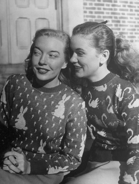 Teenage girls wearing new animal pattern swearters. Location: US Date taken: 1945 Photographer: Nina Leen