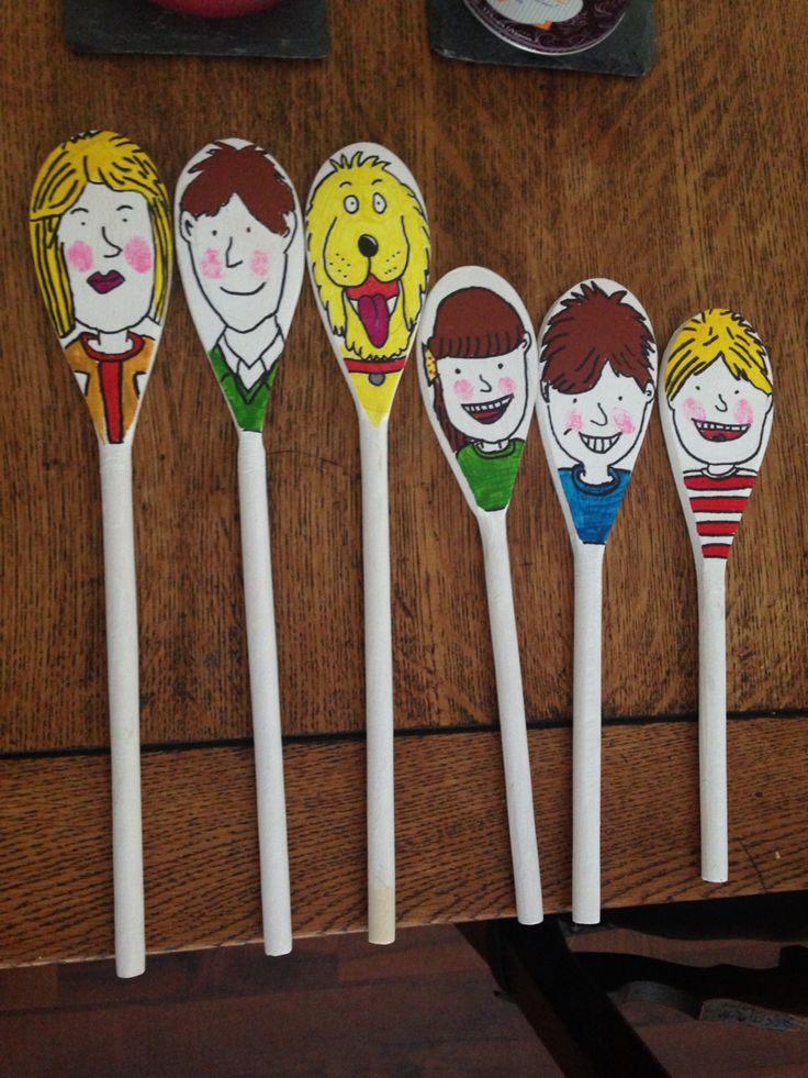 Oxford reading tree character spoons. For the children to use alongside books when learning to read.