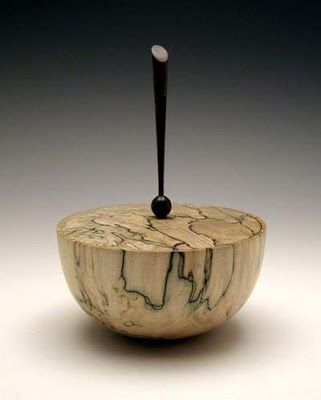 Wood Turned Boxes   Spalted Maple Lidded Box by Keith Burns