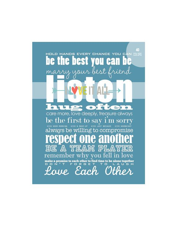 Marriage Quote Wall Art . Rules for a Happy Marriage door ILoveItAll