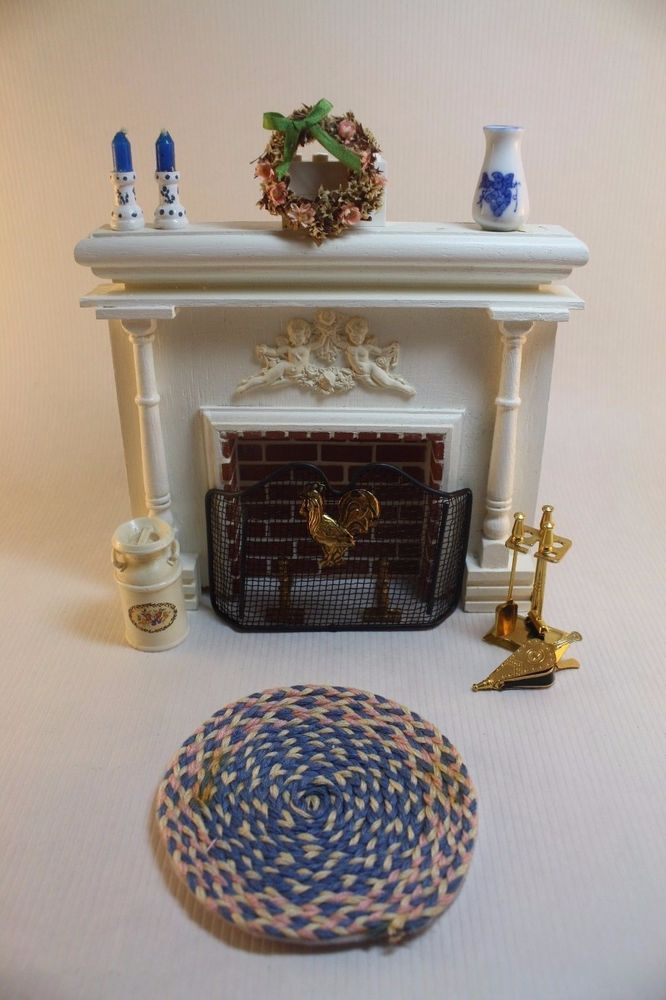 Dollhouse Miniature Lot: French Country Fireplace & Accessories (1/12 Scale) #Houseworks