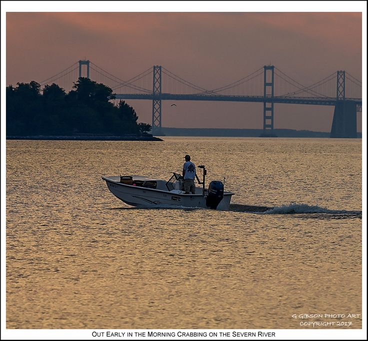 With pastel influenced clouds and seemingly copper tinted surface water a lone skiff is out early in the morning for crabbing on the Severn River in Annapolis Maryland. Photograph published on June 19th 2017. To view an enlarged version of the associated Annapolis Experience Blog post photograph, along with the post itself, click on the Visit button. Image and article Copyright © 2017 G J Gibson Photography LLC and G Gibson Photo Art.