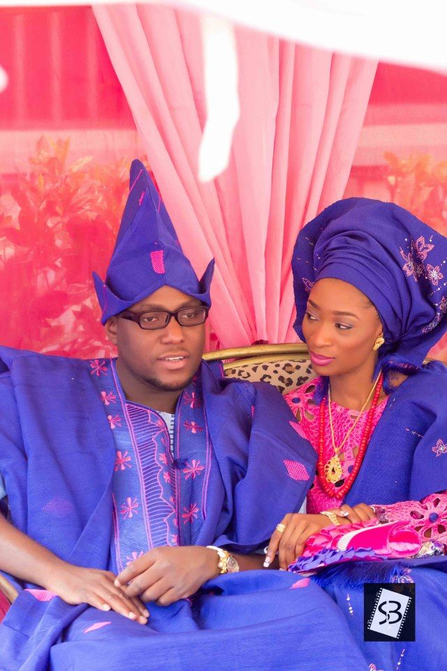 Blue And Pink Yoruba Traditional Wedding Attire