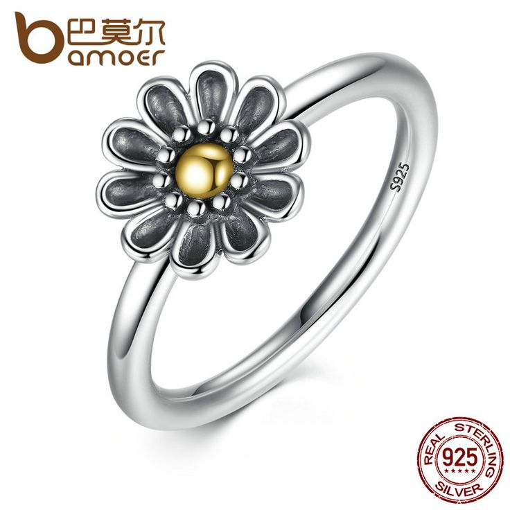 BAMOER Authentic 925 Sterling Silver Flower Finger Ring Ancient Silver Black Rings For Women 3 Size Fine Jewelry PA7170