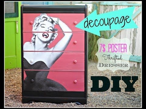 DIY Decoupage  Furniture with a 7$ poster, CeCe Caldwell Paint and a Thrift Store Dresser