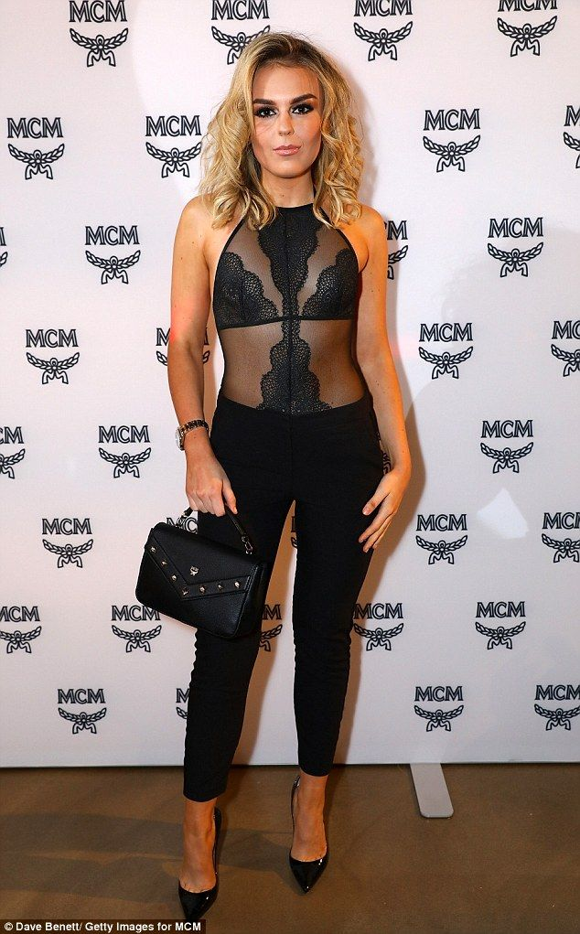 Racy in lace: Tallia Storm stepped out at the launch of the flagship MCM store in London s...