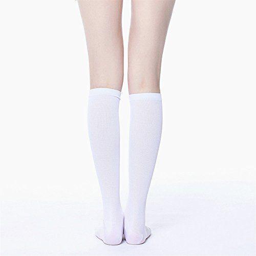 Compression Socks for Men & Women BEST Graduated Athletic Fit for Running Nurses Shin Splints Flight Travel & Maternity Pregnancy. Boost Stamina Circulation Varices Socks (Large/X-Large White)