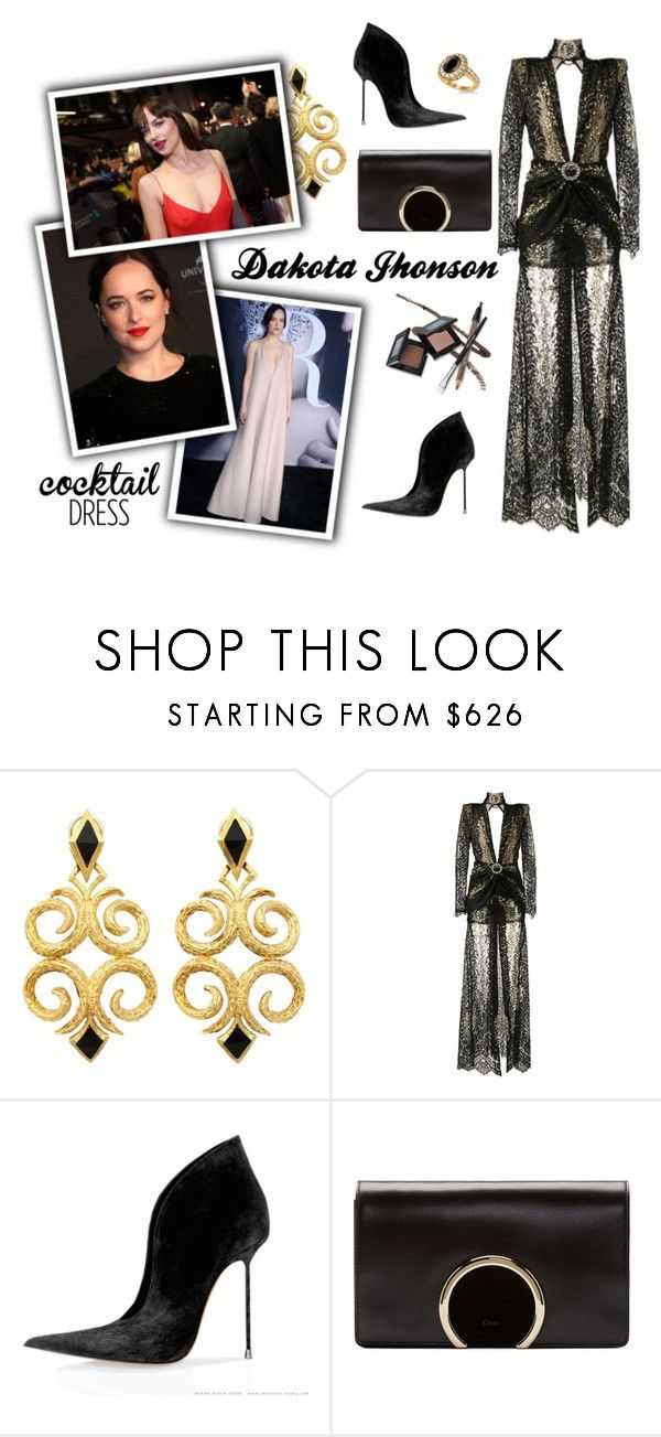 """Dakota Jhonson's - Red carpet"" by francieli-ota ❤ liked on Polyvore featuring Alessandra Rich, Chloé and Allurez"