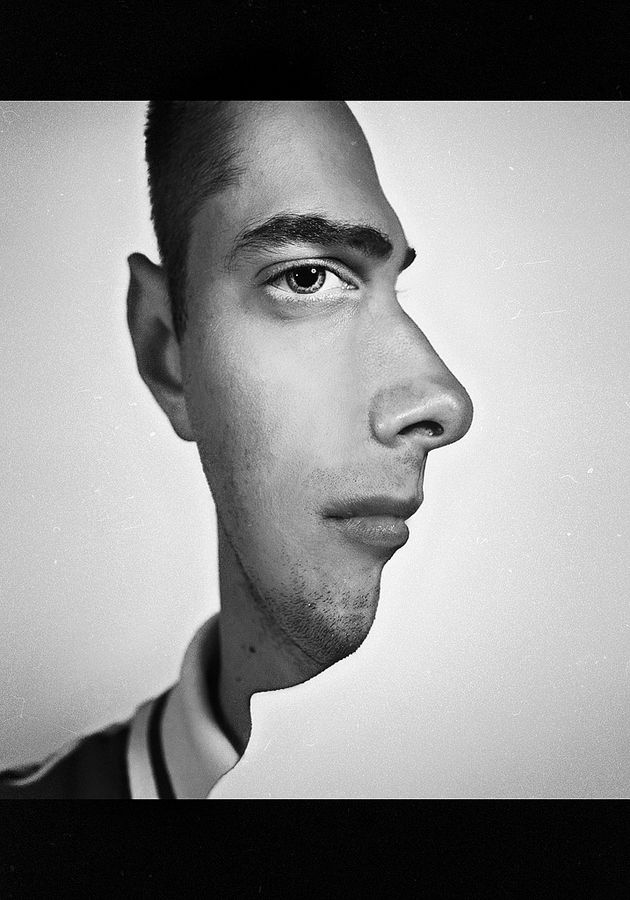 C4 by Alexey Oborotov is an example of the Gestalt theory of visual perception. The image uses illusion to trick the perception. The face could be perceived as a profile portrait or a frontal portrait with blank space.