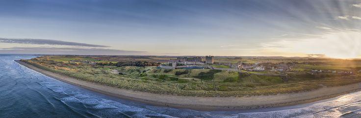 Bamburgh Sunset Panorama - Sun sets on the Northumbrian Coast