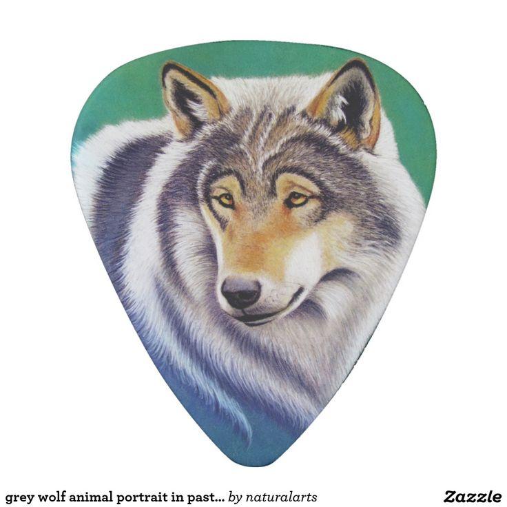 grey wolf animal portrait in pastel pick
