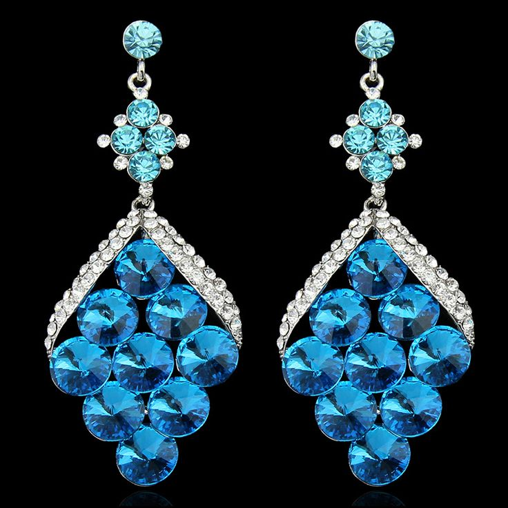 Cheap earring type, Buy Quality earring chain directly from China earring magnetic Suppliers:  New Product Luxurious Blue Long Wedding Bridal Earrings Sparkling Drop Dangle Earring For Women   Fashion Popular Large