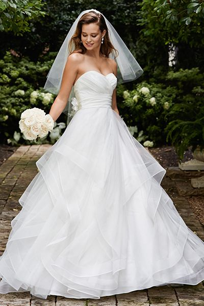 """""""Some pear-shaped brides can benefit from a ball gown, as it emphasizes a small waist and hides everything underneath its dreamy, full skirt. You'll float down the aisle in this romantic style from Wtoo."""""""