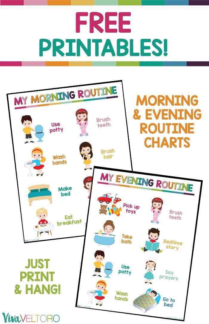 These daily routine charts for kids are perfect for toddlers or early readers! Grab your FREE Printable morning and evening routine charts. #GoodnessCircle #ad