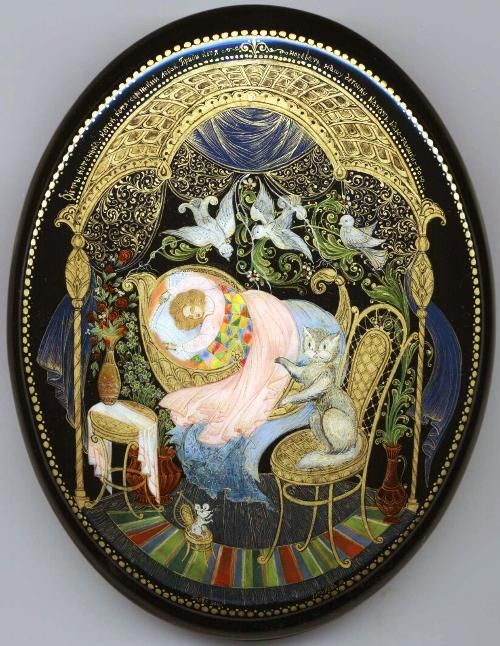 Palekh Box  Title: Lullaby.  Artist: Gurileva M.  Size (cm): 2x11x13  Size (inches): 1x4.5x5.5  Price: 495