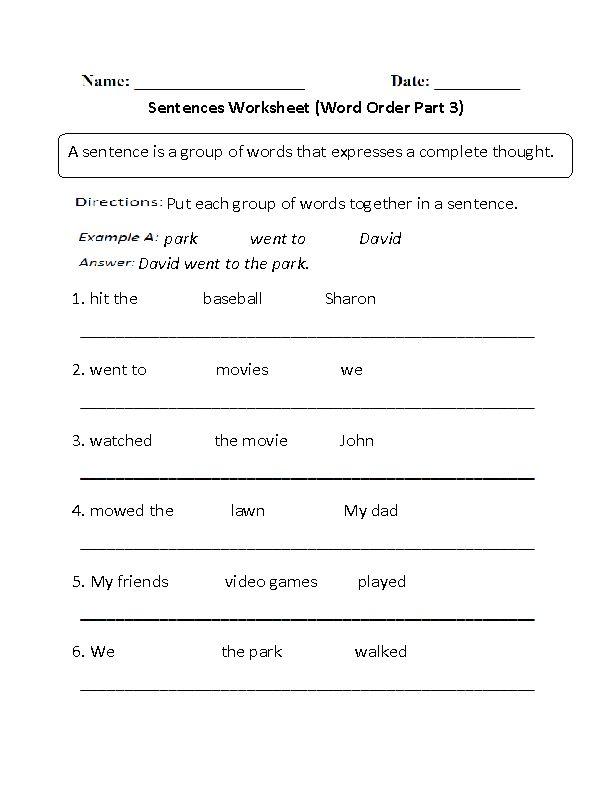Word Order Simple Sentences Worksheet Part 3