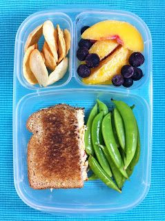 Half Pimento Cheese Sandwich, Sugar Snap Peas, Peaches and Blueberries and Cracker Crisps
