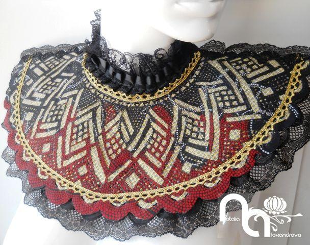 Collar from manually perforated fabric. Designed & handmade by Natalia Alexandrova.