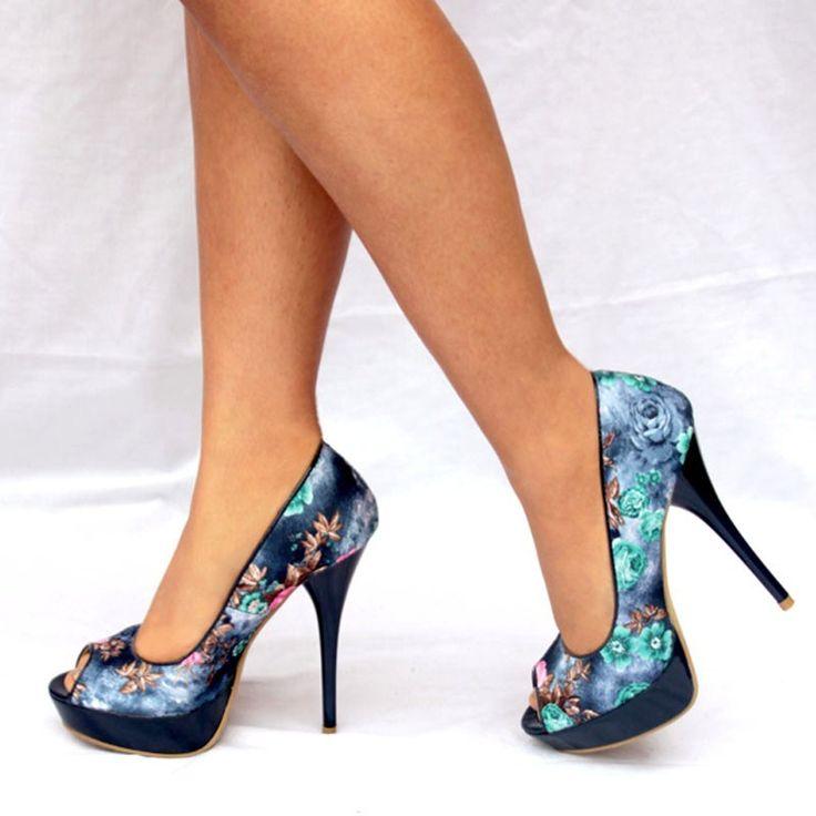 Venta online de zapatos mujer de tacon alto y plataformas para no castigar los pies a precios bajos, Tienda de zapatos mujer diseño estampado estilo custo con flores en color azul elegantes y baratos, Comprar Sandalias moda 2012 con flores en negro