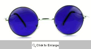 Small Round Metal Spectacles Sunglasses - 408 Purple