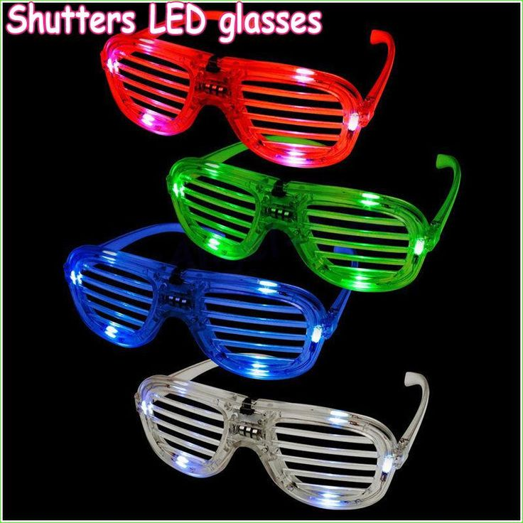 Wholesale 10pcs/lot Fashion Shutters Shape LED Flashing Glasses Light up kids toys christmas Party Supplies glowing glasses