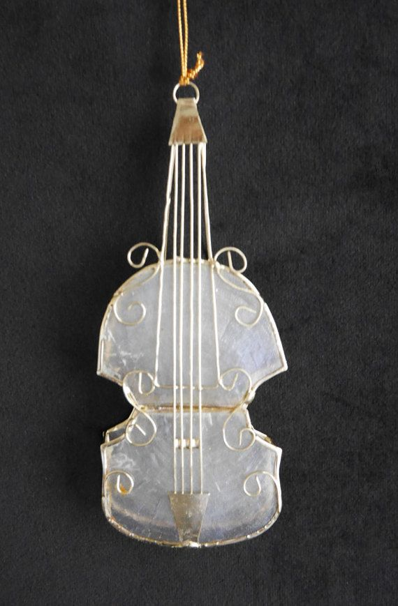 Capiz Shell Violin Christmas Ornament 3-D Sculpted Wire Tree Trim  Translucent Shell Gift for Musician Violin Viola Cello - Capiz Shell Violin Christmas Ornament 3-D Sculpted Wire Tree Trim