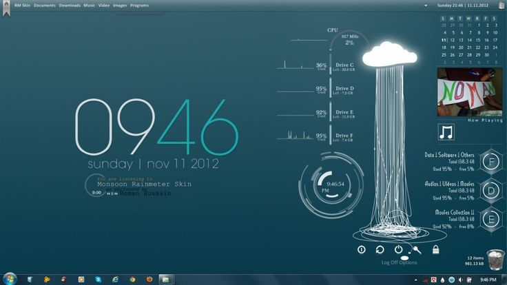 windows 7 themes   Monsoon Windows7 Rainmeter Theme
