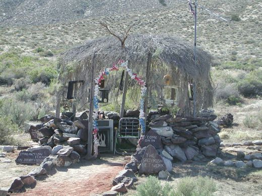 """Take a road trip along the Burner Byway and explore Guru Road in Gerlach, Nevada.   Guru Road is a curious monument of quirky aphorisms and folk art installations built by DeWayne """"Doobie"""" Williams between 1978 and 1992."""