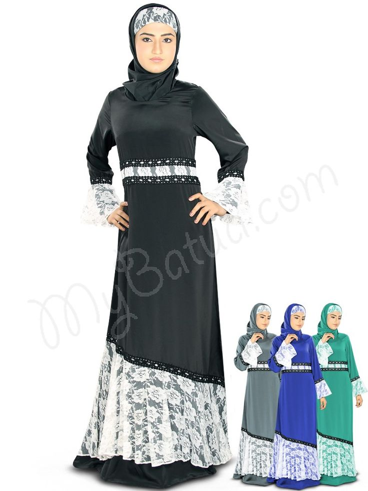 Beautiful Box Pleats Black & Royal Blue Party Wear Simah #Abaya #MyBatua.com Style No : AY-326 Price : $44.40 Available Sizes XS to 7XL
