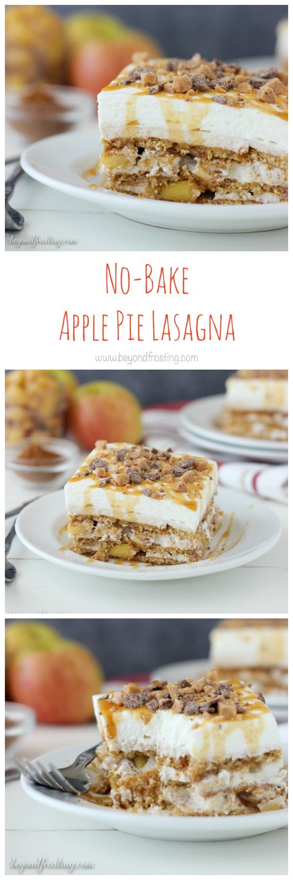 If you're looking for a no-bake dessert for your potluck, look no further. This No-Bake Apple Pie Lasagna is all you need. The Apple Pie Lasagna consists of layers of graham cracker, a caramel brown sugar cream cheese, apple pie filling, whipped cream and chocolate toffee pieces. The caramel brown sugar cream cheese is to die for, I could shovel it in my mouth by the spoonful. I'm not saying that I did that or not, but I am just saying that you COULD. I love the chocolate toffee bites…
