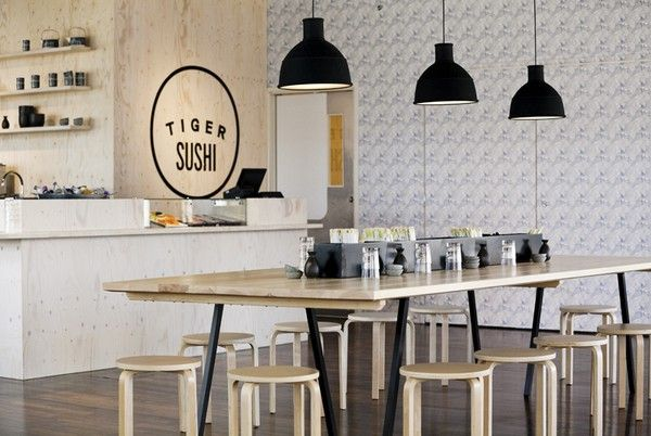 Tiger Sushi, a small sushi chain that you can find in three additional locations. The restaurant is designed by Joanna Laajisto, and while sushi might not seem very Finnish, you should know that Finland has some great tasting fish swimming around in their clean seas!