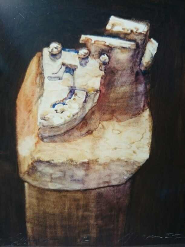 """Jacek Jaroszewski -""""Pamiątka z Sandomierza """"- watercolour, gouache 2000 (992)"""