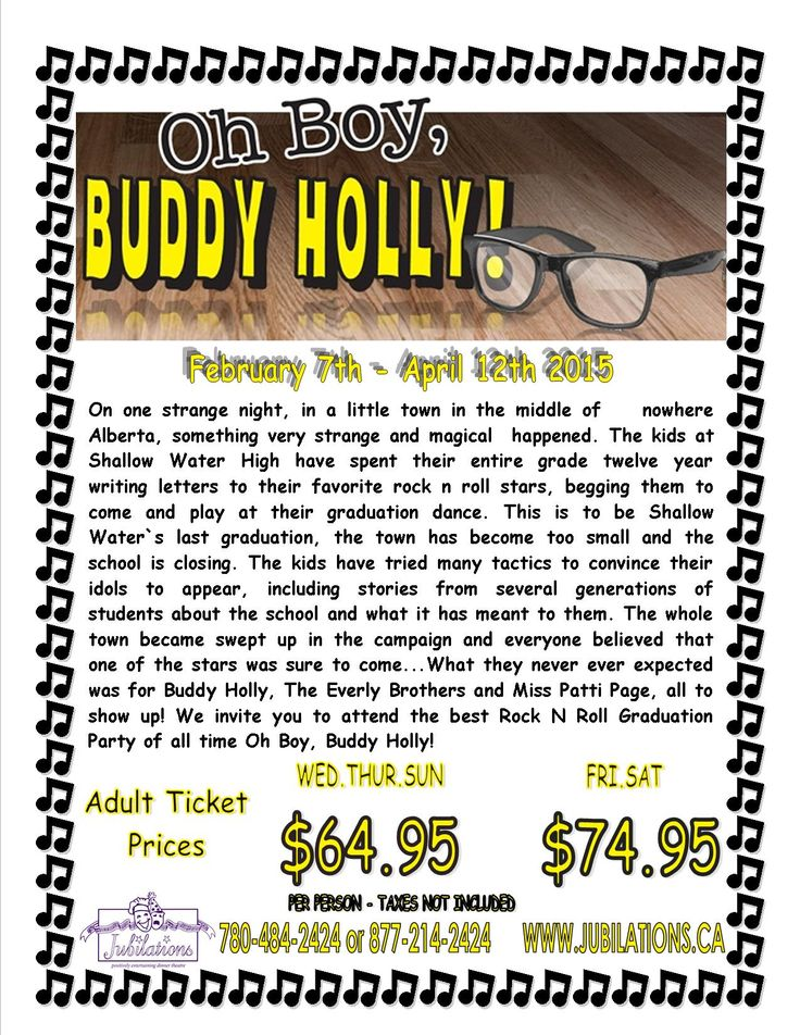 """""""Oh Boy, Buddy Holly"""" tickets are now available for sale! Show runs from February 7th - April 12th 2015! Call 780-484-2424 to reserve your seats!"""