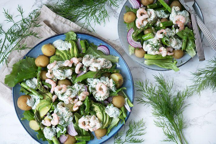 Rejesalat med dild og avocado - opskrift på en lækker salat med rejer