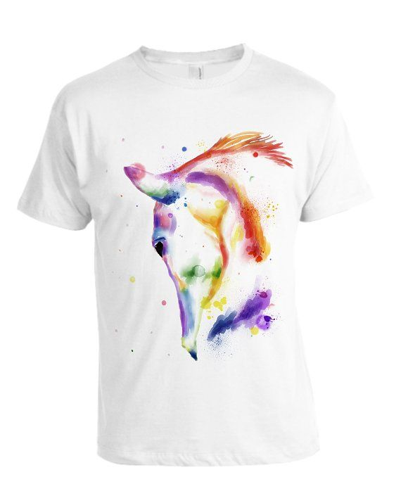 Watercolor rainbow horse  by AnSuArt on @creativemarket