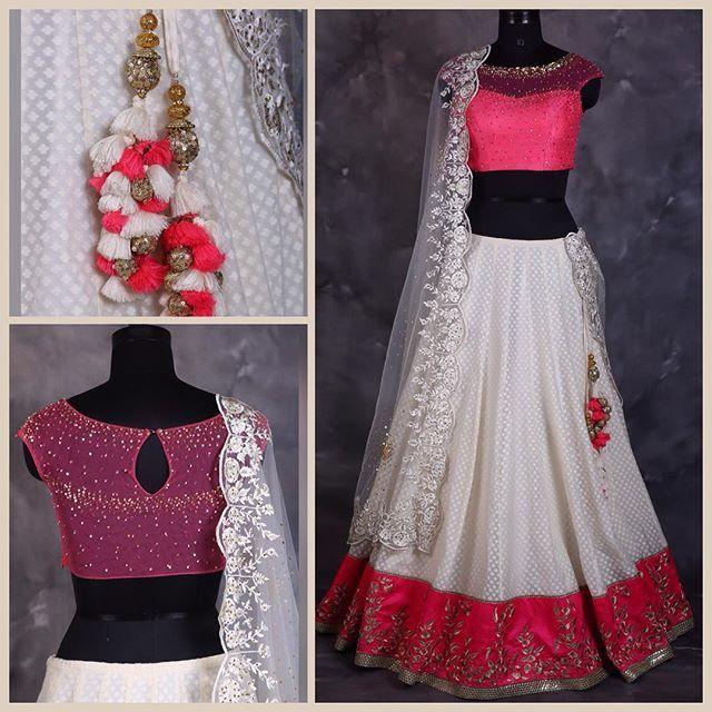 #lehanga#choli #blouse #offwhite #favourite #pink #bright #border #threadwork #gold #sequin #spray#handembroidery #embroidery #tassels #handmade#dupatta #scallops #net#mycollection #mywork #lovemyjob #instafashion #instastyle #instagram #creation #indiandress #indianwear #indianstyle