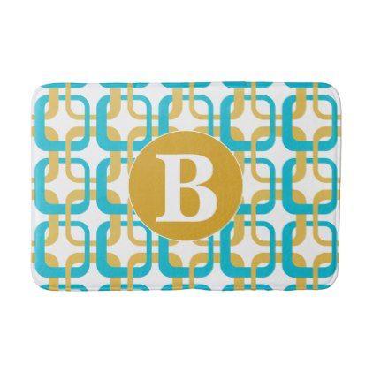Retro Gold & Turquoise Pattern Monogram Bathroom Mat - monogram gifts unique design style monogrammed diy cyo customize
