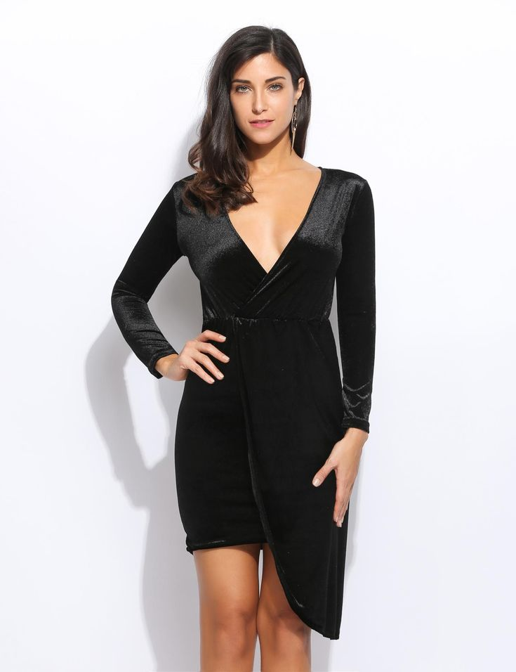 Black Nuevas mujeres de moda cruzando el cuello en V de manga larga elástica de la cintura sólida vestido de terciopelo delgado dresslink.com