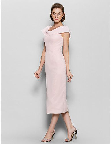 blush colored tea length sheath dresses | Sheath/Column Mother of the Bride Dress - Pearl Pink Tea-length Short ...